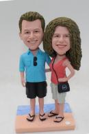 Beach theme engagement cake topper bobbleheads