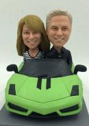 Custom anniversary couple in car bobblehead
