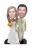 Custom holding hands wedding bobblehead