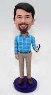 Custom bobblehead doll with iPhone