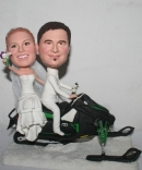 Custom Snowmobile wedding cake toppers