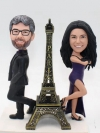Custom couple bobbelehead with Eiffel Tower