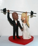 Custom weightlifting wedding cake toppers
