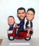 Custom Family of three on motorcycle bobbleheads