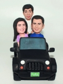 custom family of three in car bobbleheads