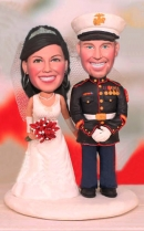 Military Wedding Bobblehead Cake Toppers