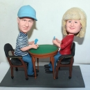 Custom playing card couple bobbleheads
