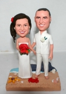 Custom beach wedding cake toppers