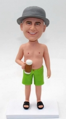 Customized bobblehead shirtless with beer