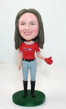 Female baseball pitcher custom bobblehead
