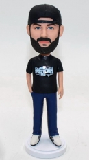 Custom bobblehead with hat backwards