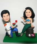 Custom proposal wedding cake toppers