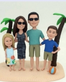 Custom Family of 4 beach bobbleheads