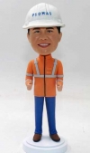 Custom engineer bobblehead with hard hat and orange vest