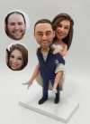 Custom bobblehead cake topper groom carrying bride