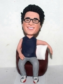 Sitting on sofa custom bobbleheads