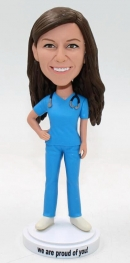Custom bobble head doctor in blue scrubs