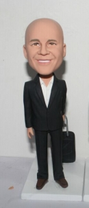 Custom bobblehead Business man with suitcase