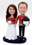 Custom wedding bobbleheads blackhawks hockey