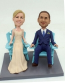 Sitting on beach chair wedding cake toppers