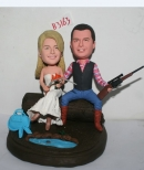 Custom country life wedding cake toppers