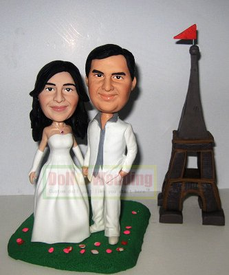 custom bobbleheads wedding cake topper- 558