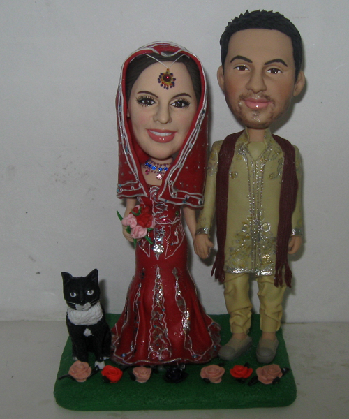 custom bobbleheads wedding cake topper- 592