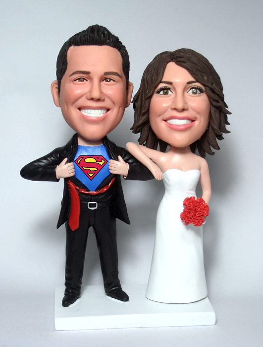 Superman custom bobbleheads cake toppers