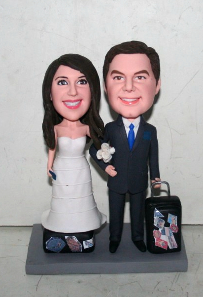 Travel themed bobblehead cake toppers - 10833