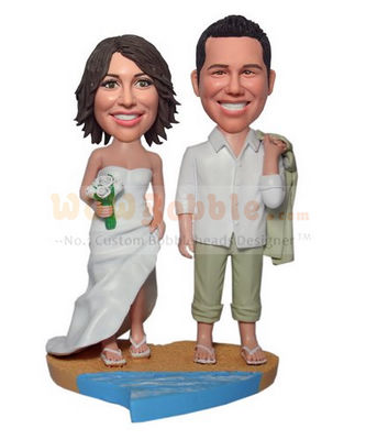 Beach wedding bobble heads BW61
