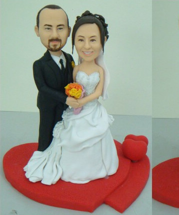 Wedding bobblehead cake toppers - L16
