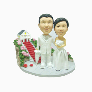 Bride and groom bobbleheads- S037