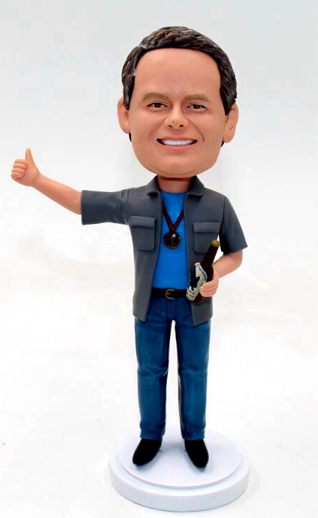 Custom bobblehead holding beer with medal