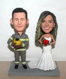 Firefighter custom wedding cake toppers