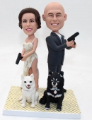 Custom Mr. & Mrs. Smith theme wedding bobblehead