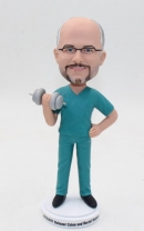 Custom doctor bobblehead with dumbbell