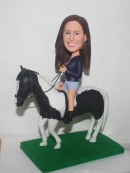 Custom bobblehead Female riding horse