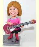 Custom Girl playing guitar bobbleheads