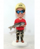 Custom boy carrying fish bobbleheads