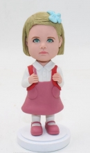 Custom little school girl bobble head doll
