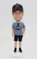 Custom bobblehead with Red Sox hat