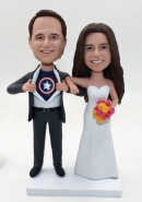 Custom wedding bobbleheads Captain America