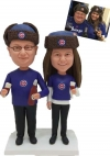Custom bobbleheads couple Chicago cubs fans